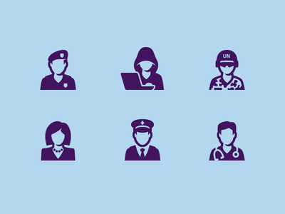 People icons occupation people icon business woman military police soldier cybercrime doctor police officer