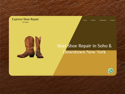 Express Shoe Repair shoe repair shoes logo landing page website home illustration figma ui design branding