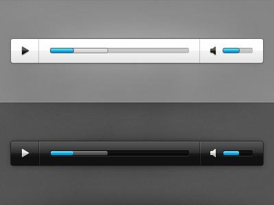 UI – Audio Players black white simple audio video media