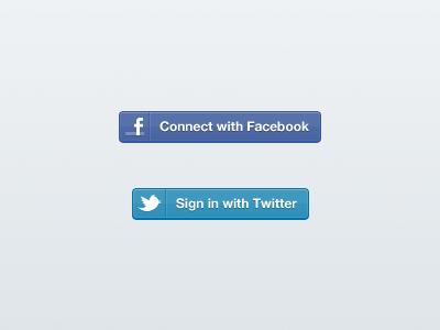 Facebook / Twitter Sign-in Buttons social facebook twitter login ui button