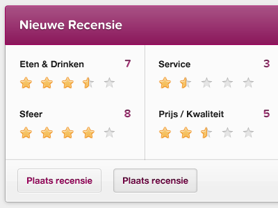New Review. scores stars ui buttons gloss clean