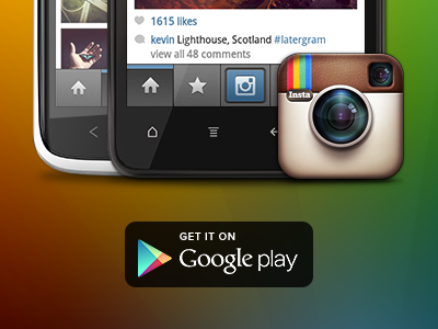Instagram for Android — Available Now! instagram android website microsite rainbow maxvoltar googleplay