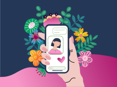 Chat ilustration love flower chat mobile