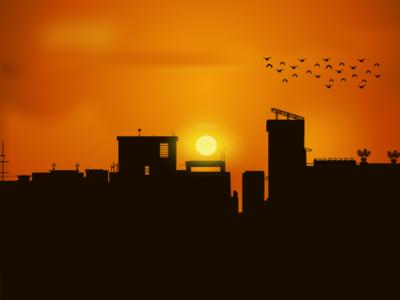 Sunset ilustration background birds simple ideas design ilustration sun sunset