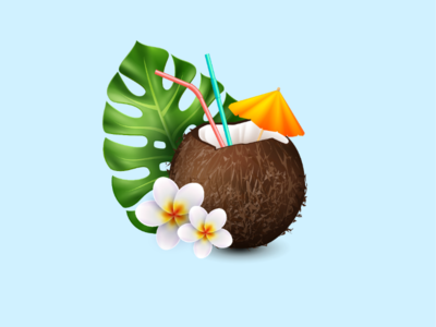Cool background wood rose coconut ilustration cool sea