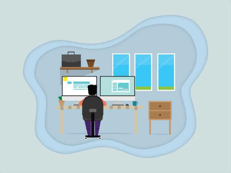 Office vector minimal flat illustration design