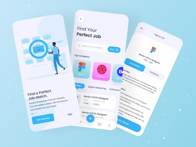 👨🏻‍💻 Job Finder | Mobile Apps job application finder job job listing app mobile mobile ui ui ux clean simple mobile design jobs clean app concept job finder app finder job job finder minimalist minimalism