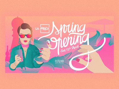 La Fresca Spring Opening illustrator fashion spring radio drinks madrid party illustration