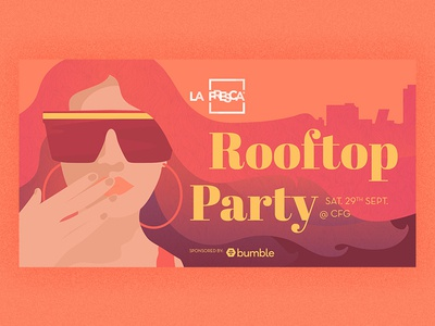 La Fresca Rooftop Party illustration art rooftop illustrator illustrations party party flyer madrid illustration