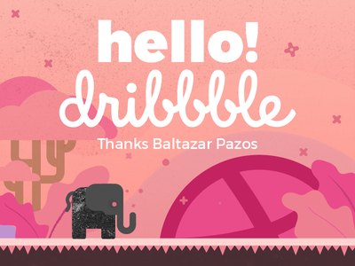 Hello Dribbble! first shot blackphant elephant illustration debut