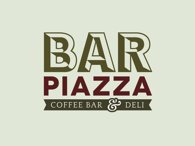 Logo Design   Bar Piazza logo branding restaurant logo cafe logo deli cafe italian