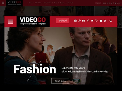 Video Magazine Template Homepage mobile video video online video blog video website vimeo youtube themeforest envato videogo video