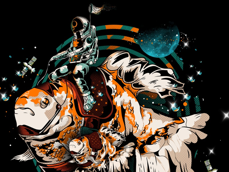 Astronaut Drive with Goldfish adobe illustrator sea fish goldfish spaceman space astronauts astronaut amazing unique photoshop illustration design cool artwork artist art direction art