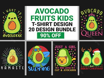Avocado Funny Fruits Kids T-Shirt Bundle vectorbundle