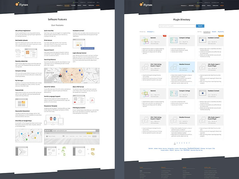 WebsIte for Flynax Software plugins features site design flynax