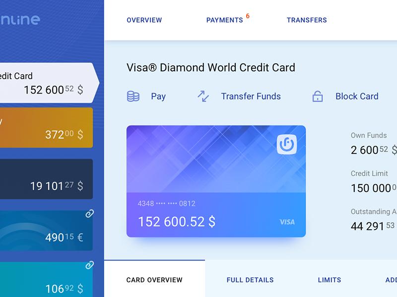 Online Banking > Credit Card Page finance details credit card visa banking bank