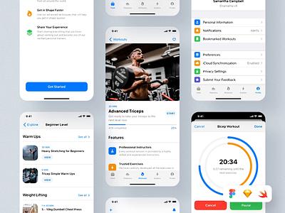 Swift Fitness: iOS 14 App Kit I mobile ui kit mobile ui ios app design ios app mobile ios ui for mobile design uiux ui product design digital design