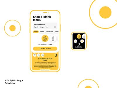 #DailyUI Day 4 - Calculator apple watch watch mockups phone dailyuichallenge dailyui 004 dailyui form alcohol drinks beer calculator app