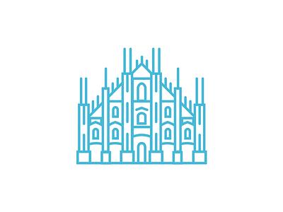 Milan Cathedral minimal icon silhouette design milan