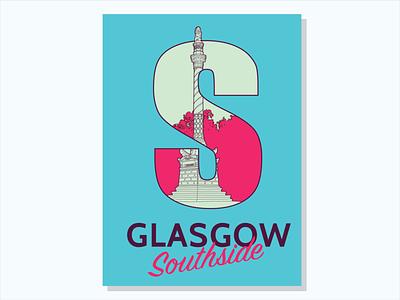 Southtember Series #1 Battlefield Monument poster glasgow minimal design vector illustration