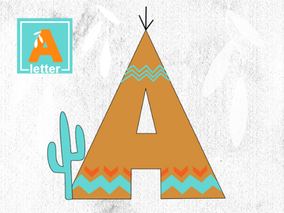 "Decorative letter ""A"" coraldraw wigwam illustration indians letter"