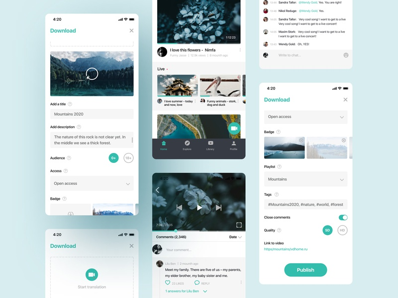 Platform for watching videos (IOS) interface mobile ui uxdesign ui design app design mobile app uiux uxui chat app chat live chat livestream films filmmaker film youtuber youtube videomaker videogame video