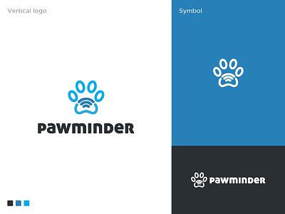 Pawminder logo health platform wifi animal logodesigner cat dog pets app icon interactive app paw