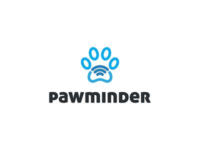Pawminder logo design wifi interactive platform app icon app animal dog cat pet paw
