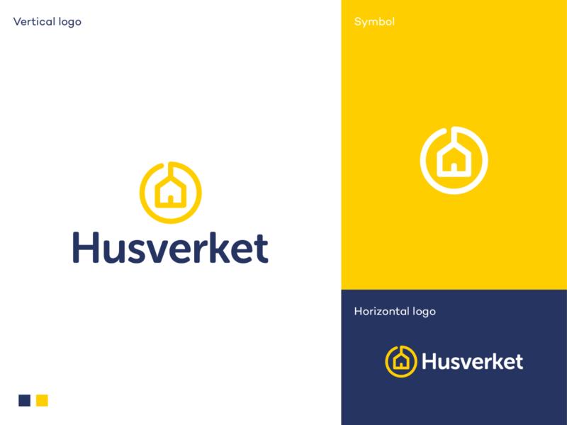 Husverket logo branding logodesigner logodesign elegant simple modern swedish cabin mountain house dream house modular industry housing vacation supplier hus house