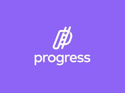 Progress logo design graphic design designer app icon growth inovation ladder letter p ladder logo logodesign progress saas logo simple creative logo startup logo tech