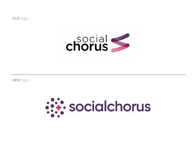 SocialChorus new logo symbol branding logodesign chorus social communication logo app software app icon app logo startup before and after old logo new logo rebranding software company logo