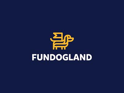 Fundogland unused logo proposal branding dog fun land dog day care marketplace dog owners international safe trust respect tolerance love animal logodesigner symbol logodesign logo pet