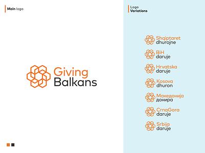 Giving Balkans logos design mark symbol software good deeds visualized reports branding logodesigner logo logodesign philanthropy nonprofit analytics data database giving balkans