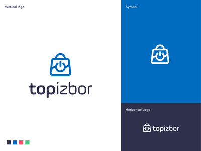 Top Izbor logo redesign logodesigner shopping bag technology electronics blue e-commerce products bag eshop shopping redesign branding mark symbol logodesign logo