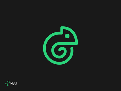 MyUI logo design proposal ui app app icon cameleon user automatisation custom personal software company logo software application user interface experience animal branding logodesigner mark symbol logodesign logo