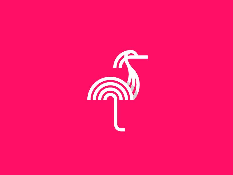 Bird Logo identity flamingo symbol line bird animal nature mark logodesigner logodesign logo