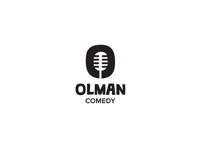 Olman Logo funny mark symbol icon logo standup microphone comedy