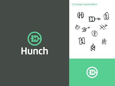 Hunch Logo startup branding startup logo startup software logo campaign technology optimization h arrow facebook ads ad campaign software branding logo
