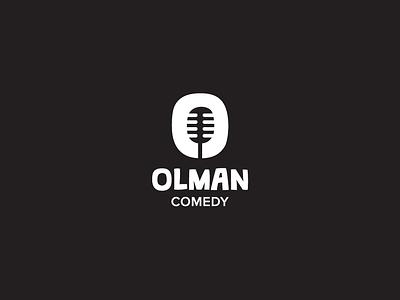 Olman Comedy Logo standup funny o microphone comedy symbol logo