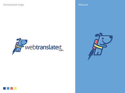 Webtranslateit Logo Design management mascot software logo tool translation jetpack app logo dog logo