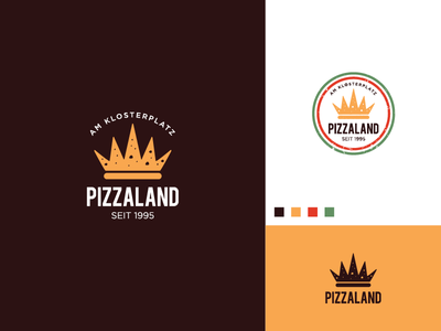 Pizzaland Logo pizzeria mushrooms cheese slice kingdom crown restaurant logo food logo pizza logo pizza