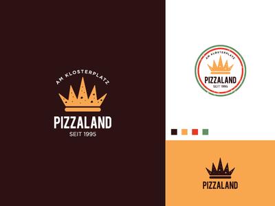 Pizzaland Logo pizzeria mushrooms cheese slice kingdom crown restaurant logo food logo pizza logo pizza