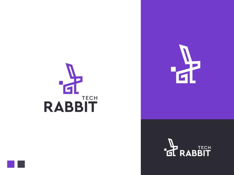 tech rabbit logo software visual identity bunny creative branding startup logo startup application app icon app logo tech rabbit