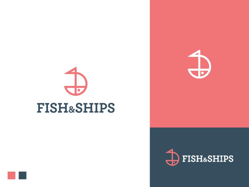 Fish and ships logo water software app icon app restaurant nature salmon branding symbol logo logodesign sea food ship fish