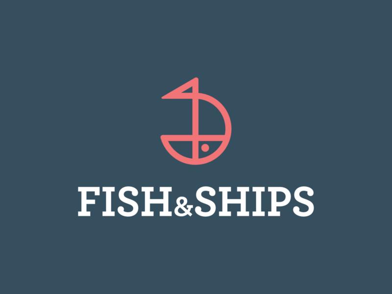 Fish and ships logo design water symbol software sea salmon restaurant nature logo design logo food chips ship fish app icon app