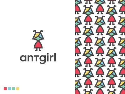antgirl logo teamwork branding logodesigner symbol logodesign character colors work animal pattern girl ant