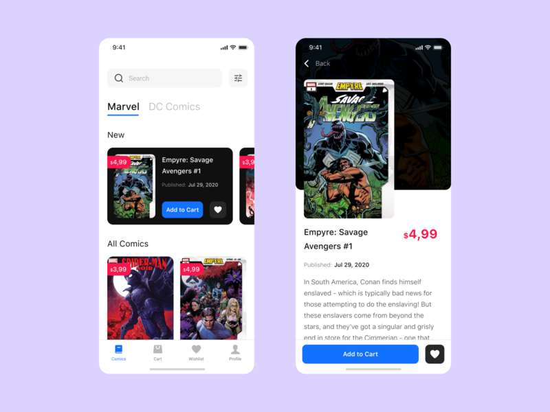 Comic shop comic art shop comic mobille app mobile art direction app ios ui  ux dribbble design art