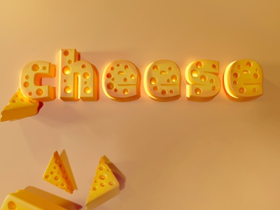 Cheese typography ty 3d