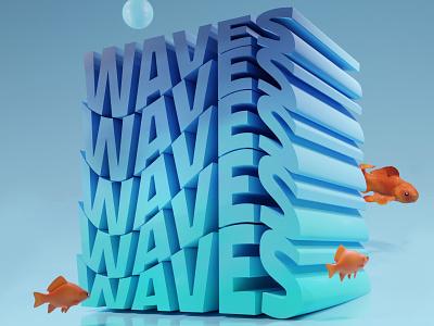 WAVES typography typo 3d