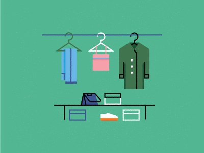 Organize clothes. jeans bag box texture shoes coat wardrobe flat vector design illustration icon
